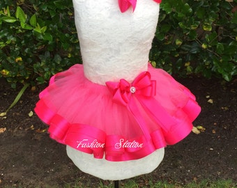 Hot Pink Satin Ribbon Trimmed TuTu ~~~With Free Hair Bow  ~~27 Solid Colors available~~~