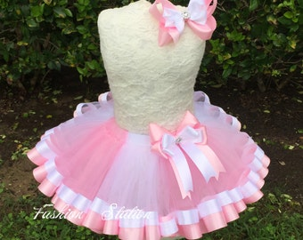 Pink and White Mixed Satin Ribbon Trimmed TuTu ~~~With Free Hair Bow  ~~27 Solid Colors available~~~