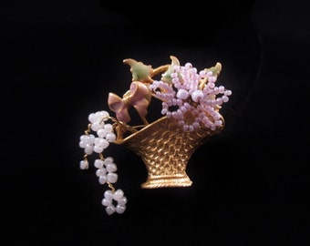 Vintage Flower Basket with Beaded Flowers