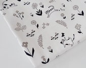 Cat Fabric, Black & White Fabric, Plant Fabric, Floral Fabric, Japanese Cotton