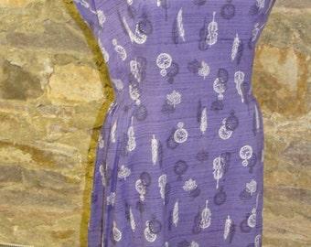 PURPLE COTTON DRESS vintage watch leaves violin M L