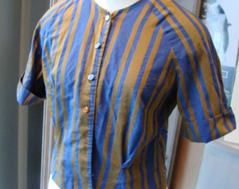 OLIVE and BLUE striped BLOUSE vintage 1960's 60's S M