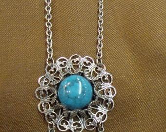 SILVERTONE TURQUOISE PENDANT necklace dangle