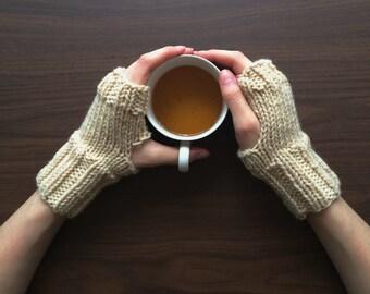 Knit Wrist Warmers, Fingerless Gloves / Beige Cream Taupe / Vegan Yarn