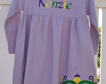 Mardi Gras  Applique Monag knit Dress New Orleans Mardi Gras