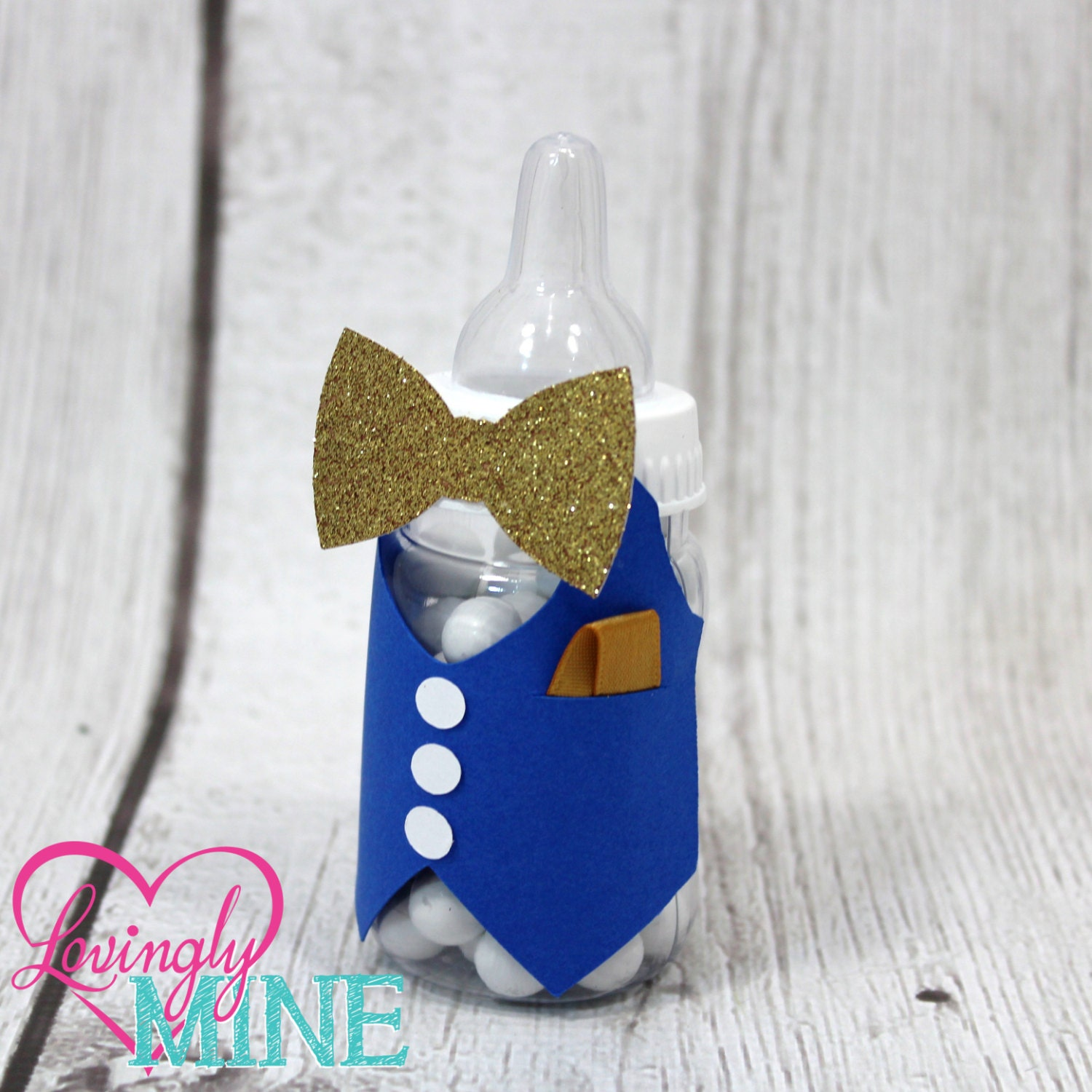 bow tie little man baby shower baby bottles favors in royal