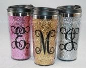 Monogrammed Glitter Travel Mug