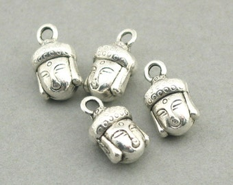 Buddha Head Charms 3D Antique Silver 8pcs pendant beads 7X14mm CM1023S