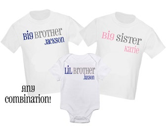 3 Pc Big Sister and Little Sister Big Brother Little Brother Set Sibling Shirt Set Personalized T Shirt - Any combination!