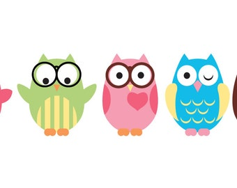Nursery wall decals - wall decal - owl decals - glasses on owl - vinyl wall decal - set of 5 - children decals