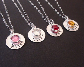 Personalized Necklace,Name Necklace, Birthstone Necklace, Sterling Silver Disc,Wedding gift,Bridesmaids gift,Flower girl gift,Christmas gift