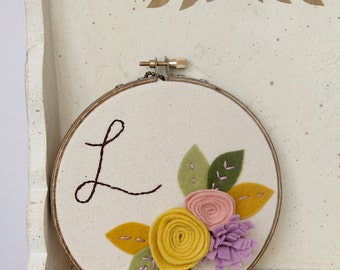 Baby Monogram Sign, Custom Nursery, Name Art, Personalized Embroidery Hoop Art, Playroom, Feminine Decoration, Infant Girl, Tween Gift