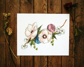 Magnolia - Floral Watercolor Print - 8 x 10