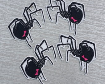 Stunning Black Widow Spider Embroidered Patch Applique Very Gothic Emo Punk