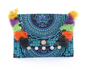 Embroidered Clutch Mixed Bells & Colorful Thread Thailand (BG306WH-18C6)