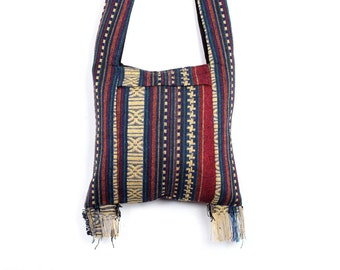 Cross Body Satchel Bag With Hmong Fabric Handmade Thailand (BG7638-1C4)