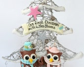 First Christmas ornament married, gift for newly married, first Christmas as Mr and Mrs, personalized ornament, holiday decor, OOAK