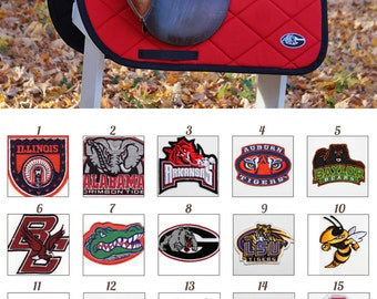 MADE TO ORDER Collegiate Patch Saddle Pad Many Schools