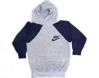 80s NIKE Hoodie Blue and Grey Two Tone Hooded Sweatshirt