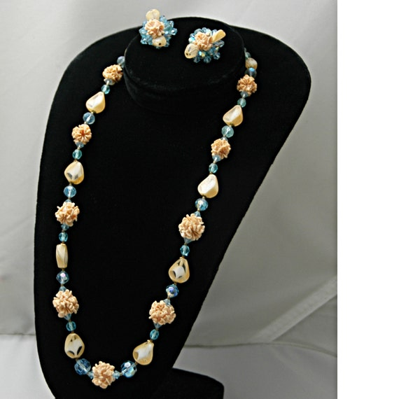 "Vintage Elegant 1930s Demi Parure Set 24"" Necklace Bold Gold Clasp Matching Cluster Clip Earrings Blue Aurora Borealis Pink Flower Bouquet"