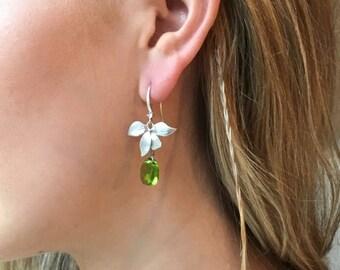 Pastels Collection-'Teardrop' Earrings- Dangle Earrings- Matte Silver-Swarovski Crystal