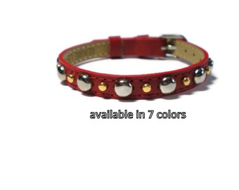 Red Leather Bracelet -   Gold and Silver Studded Red Leather Wristband - 8mm Studded Red Leather Bracelet -