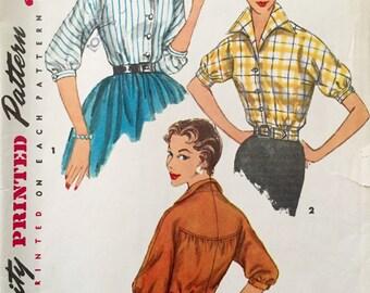"""Vintage 1950s Simplicity Misses' Blouse Pattern 1226 Size 14 (32"""" Bust)"""
