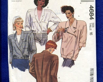 McCalls 4687 Strong Shoulder Notched Collar Jackets in Two Lengths with Inverted Back Pleat Size 16 UNCUT