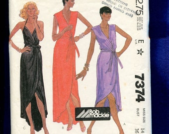 1980 McCall's 7374 Designer Bob Mackie High Low Halter Wrap Dress Size 14