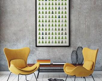 Evergreen Pattern – Digital print, art download, instant download, nature print, trees, printable art, tree pattern