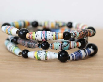 Seame Street Recycled Paper Bead Bracelet Set, Stacked Bracelet Set Perfect for Teachers, Librarian Gift, Book Lover Jewelry