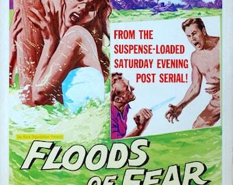 "Floods of Fear. 1959 Original 14""x18.5"" US Movie Poster. Jailbird Crime Movie. Howard Keel, Anne Heywood, Cyril Cusack, Harry H. Corbett"