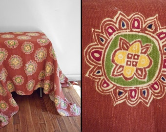 Indian Mandala Tablecloth Burnt Umber Cobalt Crimson 80 x 60