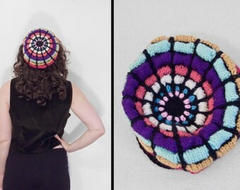 1970s RAINBOW Beret // Handmade Knit Cap // Small Stretch Tam