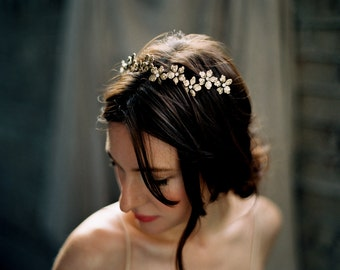 Flower Crown, Bridal Headpiece, Floral Hair Wreath, Almond Blossom Crown -Style 5516