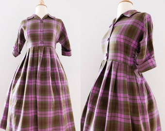 1950s Vintage Plaid Wool Dress   50s Purple Babydoll Dress