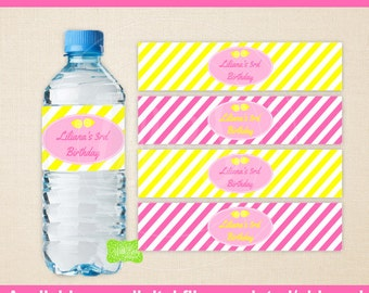 Pink Lemonade Water Bottle Labels - Printabe Water Bottle Labels - DIY Bottle Wraps - Lemonade Party Printables - Emailed & Shipped