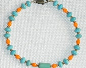 Turquoise and Coral Bracelet for Large Wrist 8.3-inch TEAL & ORANGE Colors of the Florida Keys and Dolphins Fans Magnesite and Czech Glass