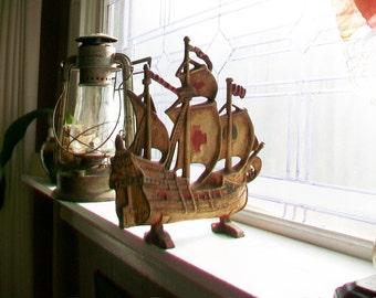 Antique Sailing Ship Red Cross Galleon Door Stop Cast Iron