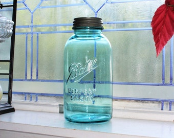 Blue Ball Jar Half Gallon Ball Perfect Mason Jar Vintage 1910 to 1923