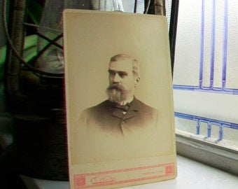 Victorian Man With Beard Cabinet Card Photograph Antique 1800s Photo