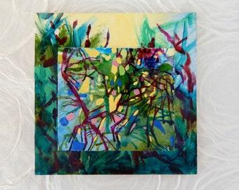 Abstract Modern Art, Expressive Art, Small art 5x5, LOVE REACHING, Inspirational Art, Office Decor