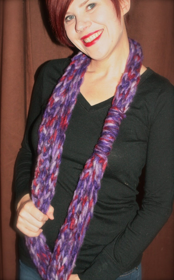 Purple multi Finger Knit Infinity Scarf
