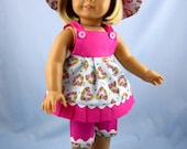 18 Inch American Girl Doll Clothes - Three-Piece Summer Play Outfit - Fits American Girl Doll - Pink and Blue Floral Hearts