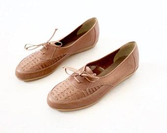 Vintage 70's Caramel Brown Leather Lace Shoes Sz 8