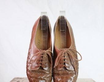 Vintage 80's Woven Leather Lace Oxfords Sz 7/8N