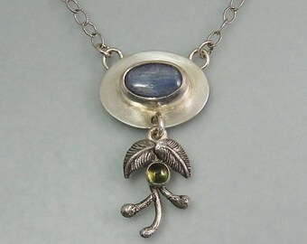 Multi stone kyanite peridot pendant necklace - modern nature inspired artisan necklace - botanical metalsmith necklace -  boho necklace