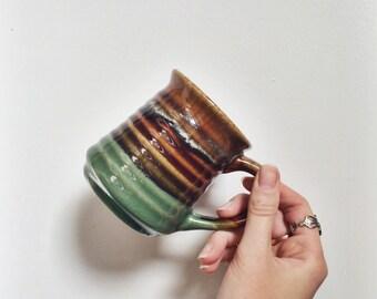 Cozy Coffee Mug   Dipped Glossy Ribbed   Brown Green Tan Earth Tones   Vintage