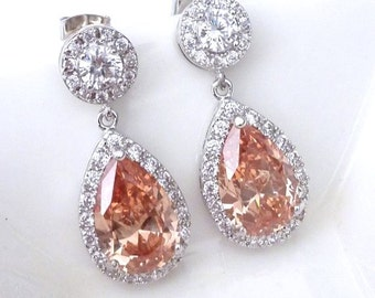 Bridal Earrings Halo Rose Gold Champagne Pear Shaped Cubic Zirconia with White Gold Plated Round CZ Post Earrings