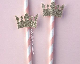 Princess Crown Straws-Princess birthday-Princess party-1st birthday-Gold crown straws-pink straws-princess